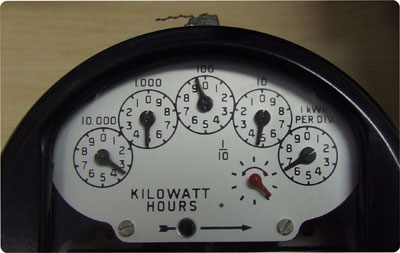 Analogue electricity meter with dials
